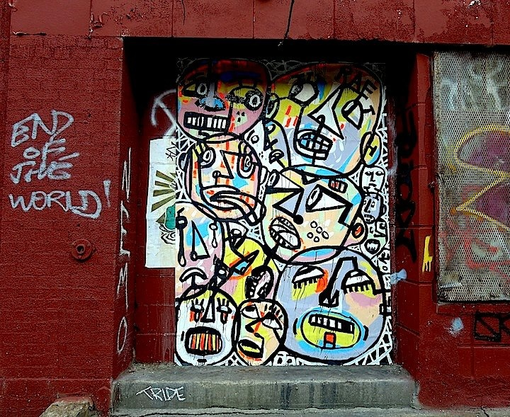 RAE street art in NYC Faces in NYC Public Spaces: RAE, Youth Waste, Veng, The Yok, Ewok, Joseph Meloy, Aimee Cavazzi & JRs Inside Out NYC