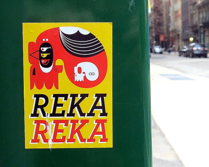 Reka sticker art in NYC NYC's Stylish Sticker Art — Part III: Paul Insect, FKDL, Crasty, See One, Baser, Obey, SkinTone, Reka and 2Esae