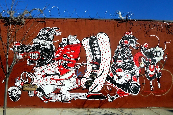 Shery and the Yok street art mural at the Bushwick Collective Sheryo & the Yok Back in NYC    at 5Pointz & at the Bushwick Collective