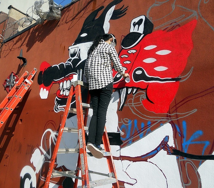 Street artist Sheryo paints at the Bushwick Collective Sheryo & the Yok Back in NYC    at 5Pointz & at the Bushwick Collective