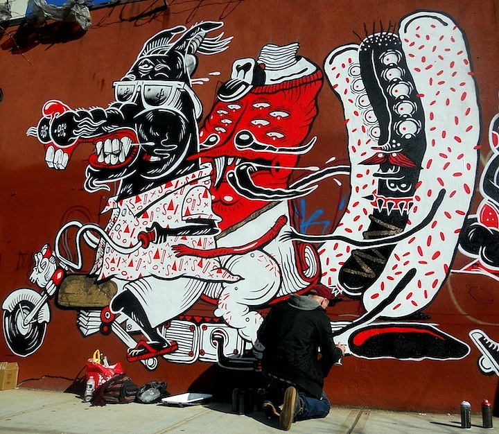The Yok street art action atthe Bushwick Collective Sheryo & the Yok Back in NYC    at 5Pointz & at the Bushwick Collective