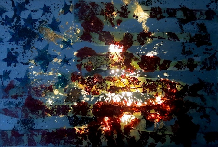 Zees recycled flag art Zees Recycles Stained Glass and Mirror Fragments into 3 D Graffiti Art