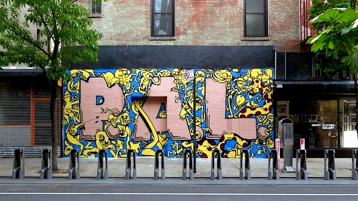 Corey and Pal graffiti mural in NYC Gorey and Pariss PAL Crew on Lower East Side Streets and at Klughaus with Sunday Closing Party