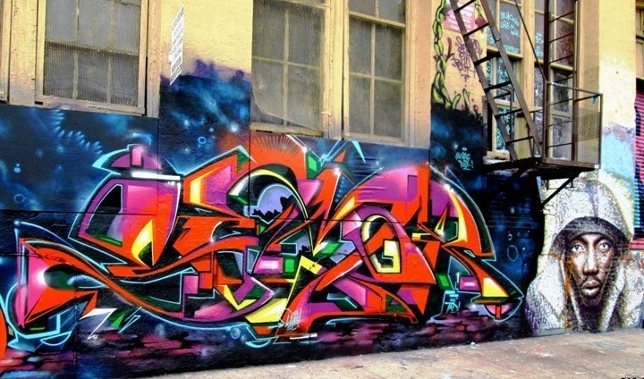 Semor graffiti and JimmyC street art at 5Pointz in Long Island City NYC  Speaking with Semor