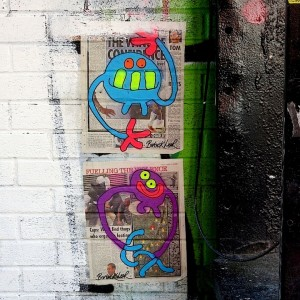 Bortusk Leer street art paste up in NYC 300x300 Bortusk Leer street art paste up in NYC