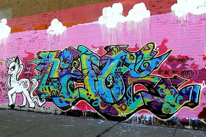 Chock graffiti in Bronx NYC The Girls Up on Boone Avenue: UK Girls on Top (G.O.T) Join Local Writers for My Thuggy Pony All Girlz Jam