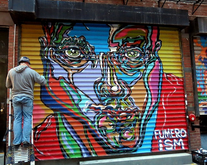 Fumero action street art on Shutter NYC NYC Shutters – Part V: Kenji Takabayashi, Kosby, Zam Art, Sheryo & the Yok, Phetus, Hef, Joseph Meloy, Fumero and Wisher914