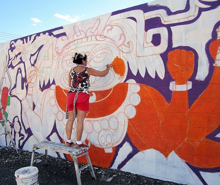 Lady Pink Paints at Welling Court 4th Annual Welling Court Mural Project Kicks off Tomorrow with Wondrous Art and Huge Block Party