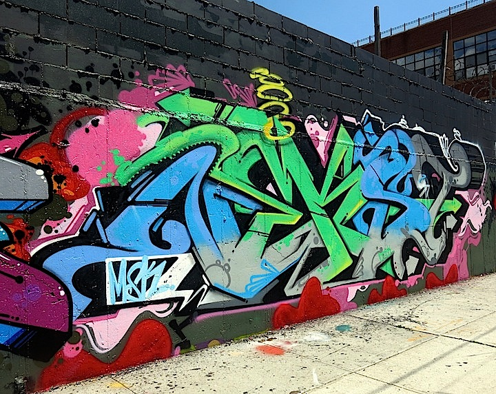 Ownes graffiti tribute to Nekst Bushwick Graffiti Mural Tribute to NEKST Takes It to the Next Level: Pose, Dabs Myla, Rime, Dmote, El Kamino, Vizie, Wane, Revok & more