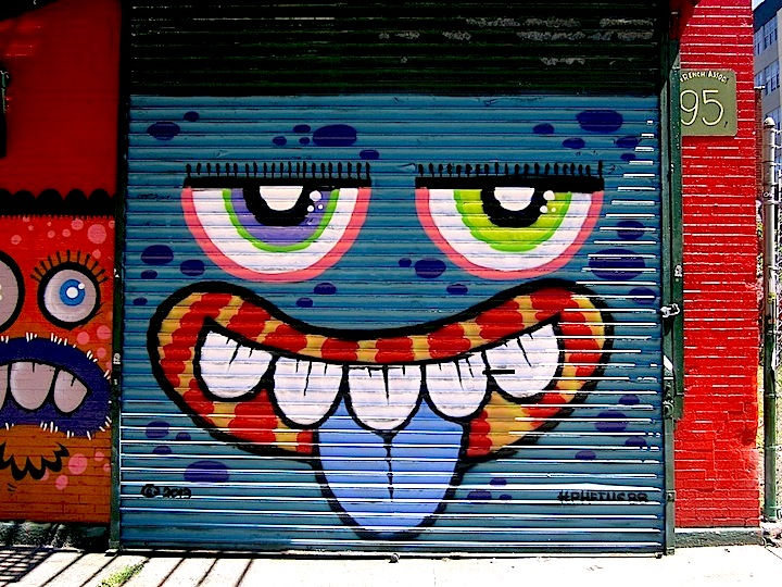phetus graffiti on Brooklyn shutter NYC Shutters – Part V: Kenji Takabayashi, Kosby, Zam Art, Sheryo & the Yok, Phetus, Hef, Joseph Meloy, Fumero and Wisher914