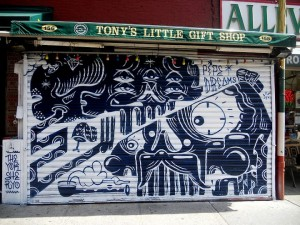 shery and the yok street art on NYC shutter 300x225 sheryo and the yok street art on NYC shutter