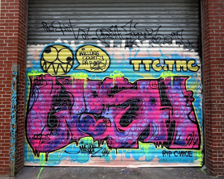 wisher914 graffiti on NYC shutter. NYC Shutters – Part V: Kenji Takabayashi, Kosby, Zam Art, Sheryo & the Yok, Phetus, Hef, Joseph Meloy, Fumero and Wisher914