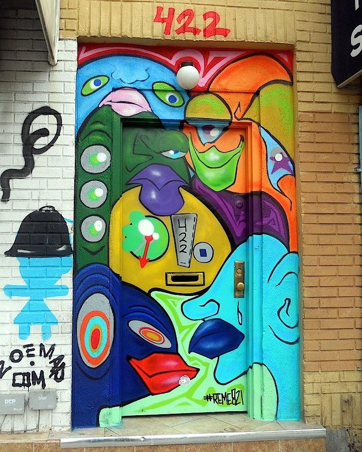 reme street art NYC NYC's Expressive Doors, Part II: Reme821, Gaia, Abel Macias, SinXero, Cruz, Sonni, OCMC and Judith Supine