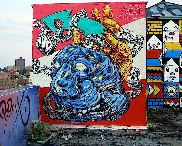 NDA rooftop art in Williamsburg Brooklyn Faces in NYC Public Spaces, Part IV: Alice Mizrachi, How & Nosm, NDA, Cern & Lee Quiñones, Carlos Pinto, Paul Richard and ECB