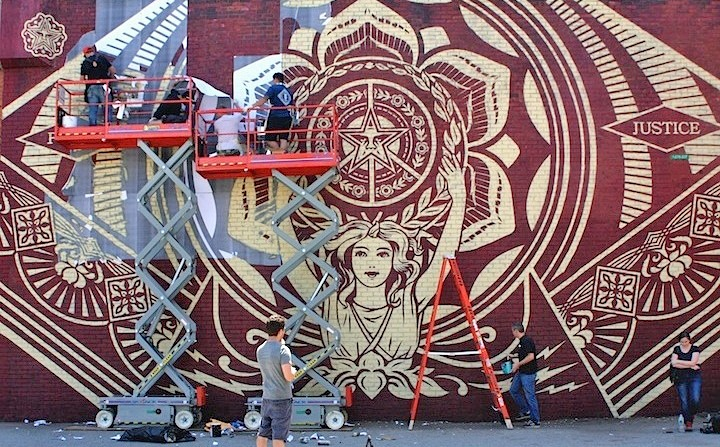 Shepard Fairey and Obey Crew 2 Stylish Murals Transform DUMBO's Visual Landscape: Shepard Fairey, Faith47, DALeast, Eltono and MOMO