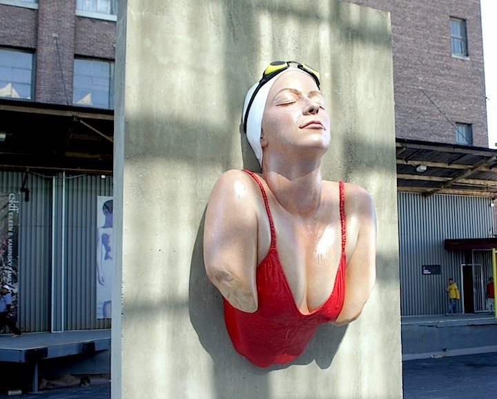 Carole Feuerman sculpture at Mana Contemporary Mana Contemporary to present A Golden Mean, an outdoor exhibit of Carole Feuermans lifelike sculptures
