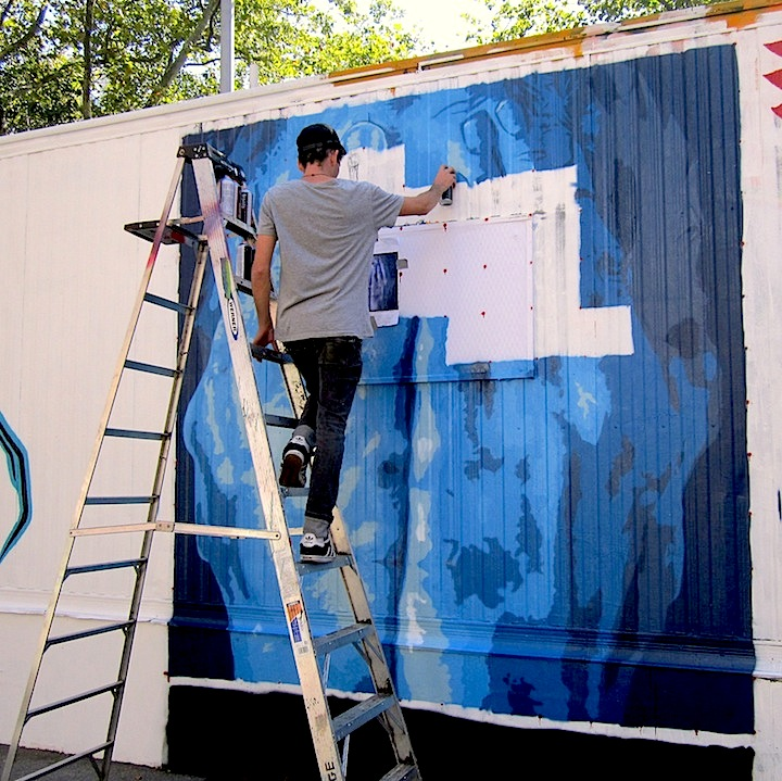 Danien Mitchell paints for Centre fuge NYC  Eight Artists Refashion First Street Trailer for Centre fuge Public Art Project Cycle 10: Willow & Swil, CS Navarette, Miishab, Nicole Salgar & Chuck Berrett, Damien Mitchell and Phetus