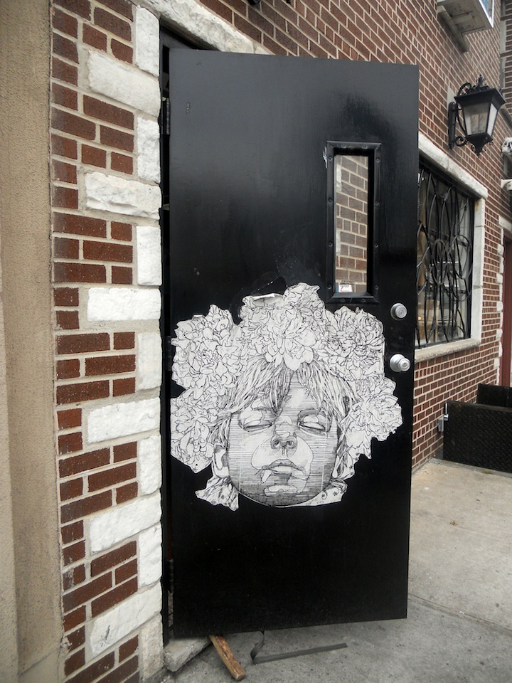 Gaia street art Long Island City NYC's Expressive Doors, Part III: Judith Supine, ASVP, Bishop203, Craig Anthony Miller, The Yok, 13 Portals Project, Gaia and Jordan Betten