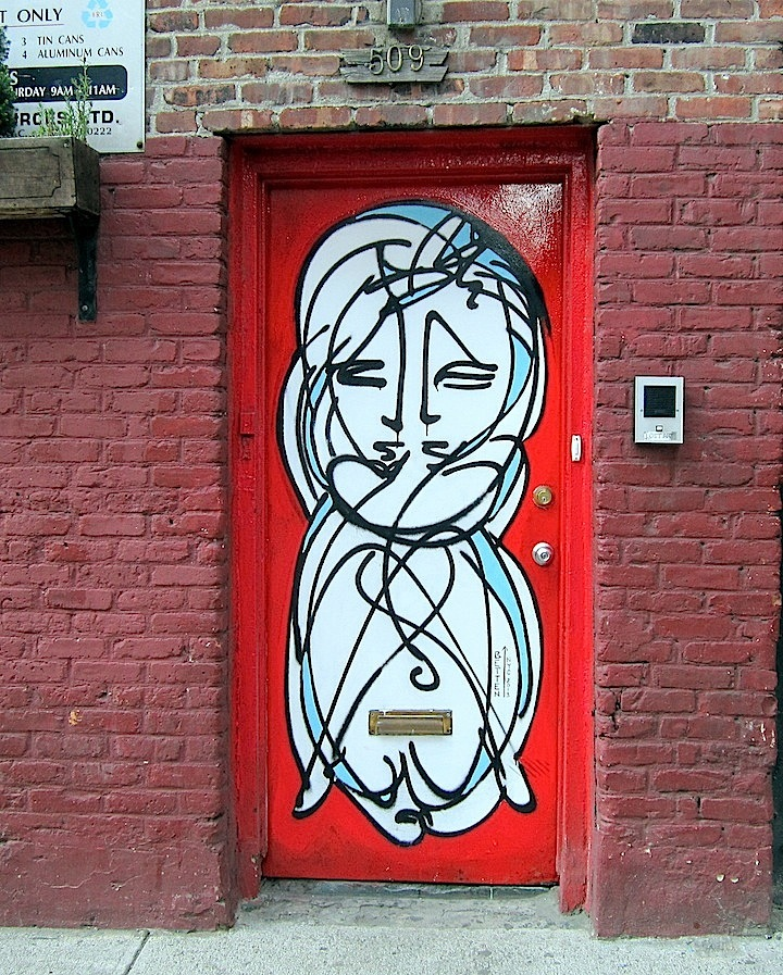Jordan Betten street art Chelsea NYC  NYC's Expressive Doors, Part III: Judith Supine, ASVP, Bishop203, Craig Anthony Miller, The Yok, 13 Portals Project, Gaia and Jordan Betten