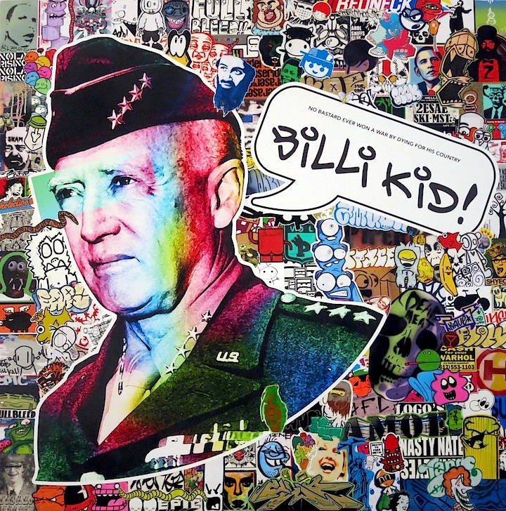 Billi Kid sticke collage at 17 Frost October Surprise at 17 Frost with Billi Kid, Abe Lincoln. Jr., Cake, Jason Mamarella, stikman, WC Bevan and more