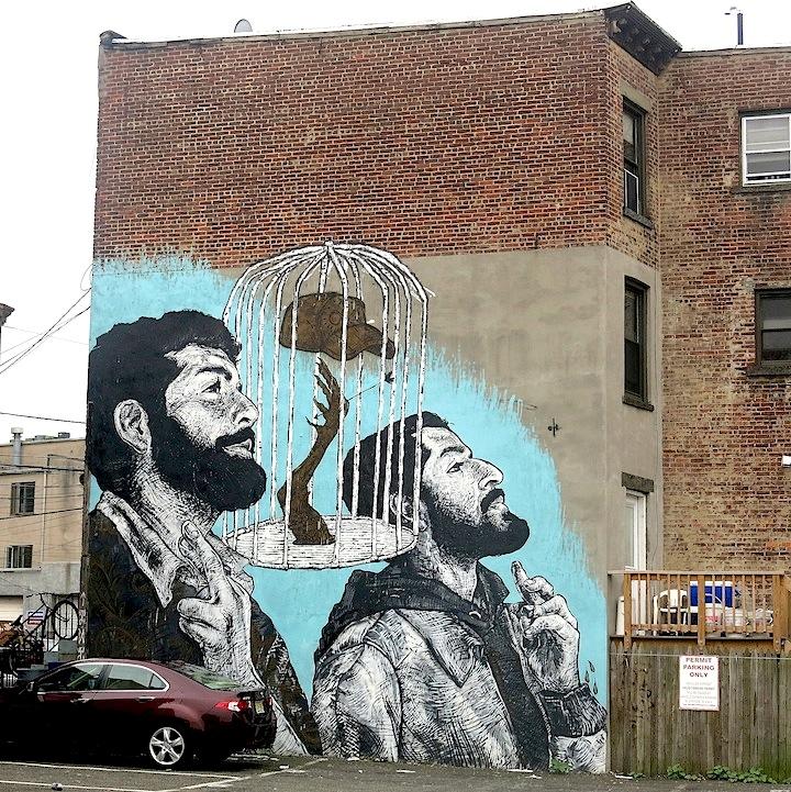 LNY mural art Jersey City Jersey Citys Burgeoning Street Art Scene: Pixel Pancho, LNY, MOR, Dulk, NoseGo, Mr. Mustart, Serringe, Distort, Then One, Ekundayo & more