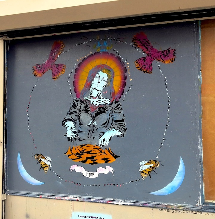 Mor stencil street art Jersey City Jersey Citys Burgeoning Street Art Scene: Pixel Pancho, LNY, MOR, Dulk, NoseGo, Mr. Mustart, Serringe, Distort, Then One, Ekundayo & more
