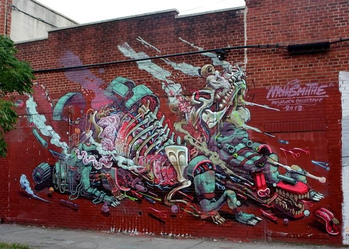Nychos Smithe street art Bushwick Collective NYC Curious Characters on NYC Streets, Part III: Nychos, Smithe, Media Unit, CAM, Galo, How and Nosm & R. Robot, Kingbee and more