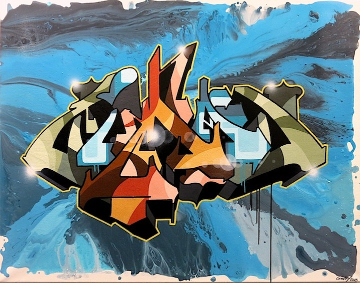 Zimad art on canvas WALL WORKS: The  Art of Graffiti at Great Necks Gold Coast Arts Center with Meres One, Zimad, Shiro, See TF, Kid Lew, Hunt Rodriguez, John Paul O'Grodnick and more