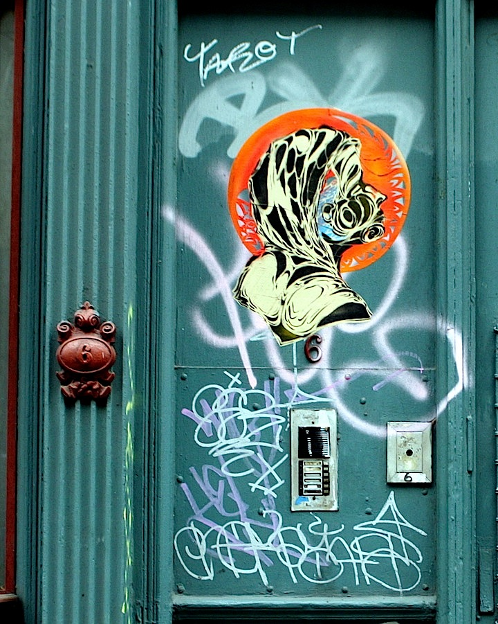 Mor stencil art NYC 2 NYC's Expressive Doors, Part IV:  Ewok, Mor, David Shillinglaw, Jordan Betten, Stikki Peaches, Alice Mizrachi, Jerkface, LMNOP and Ludo