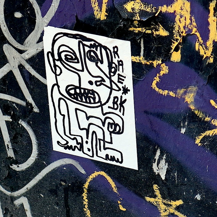 RAE street art sticker NYC NYC Sticker Art — Part IV: Screwtape, Skullphone, Kosby, Fling, RAE, Faust, RealAbstract, CB23, Zato and Sticker Nerds 3 Call for Stickers