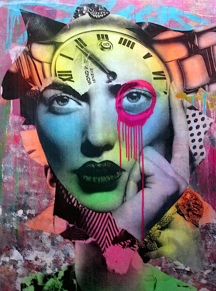 Dain collage with clock DAIN on His Women, Beauty and His New Exhibit Opening Tomorrow, Thursday, April 3, at Dumbos Folioleaf