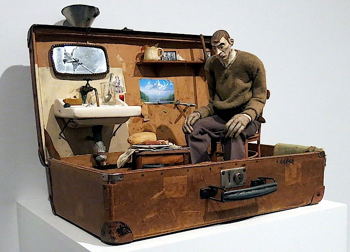 Pawel Althamer self portrait in suitcase sculpture Pawel Althamers Neighbors Transforms New Museums Fourth Floor Gallery into Dynamic Collaborative Canvas and more