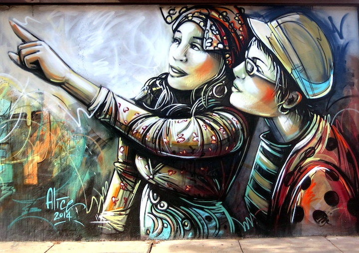 Alice Pasquini New Journey close up street art  Back to Jersey City with Alice Pasquini, Mr. Mustart, Li Hill, Ekundayo, Sean Lugo, and Case MaClaim