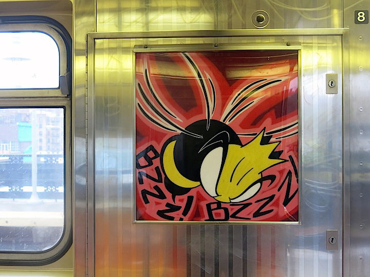 King Bee graffiti in transit InstaFame Phantom Art Brings Back Graffiti to NYC Trains with Nic707, Kingbee, Pulse, Yes One, Praxis, Meres and Tony164