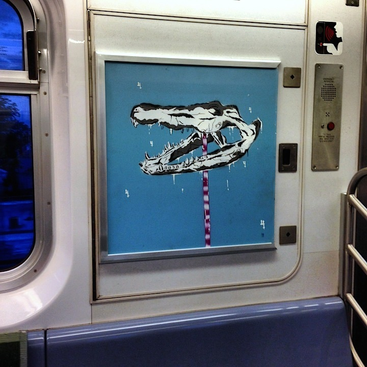 Praxis stencil art subway usa InstaFame Phantom Art Brings Back Graffiti to NYC Trains with Nic707, Kingbee, Pulse, Yes One, Praxis, Meres and Tony164