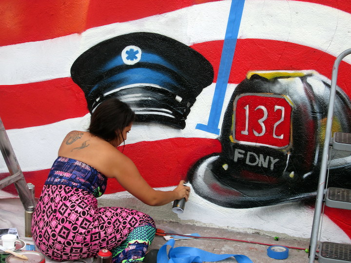 Danielle Mastrion street art NYC 5Pointz Artists Paint 9/11 Commemorative Mural in Crown Heights, BK