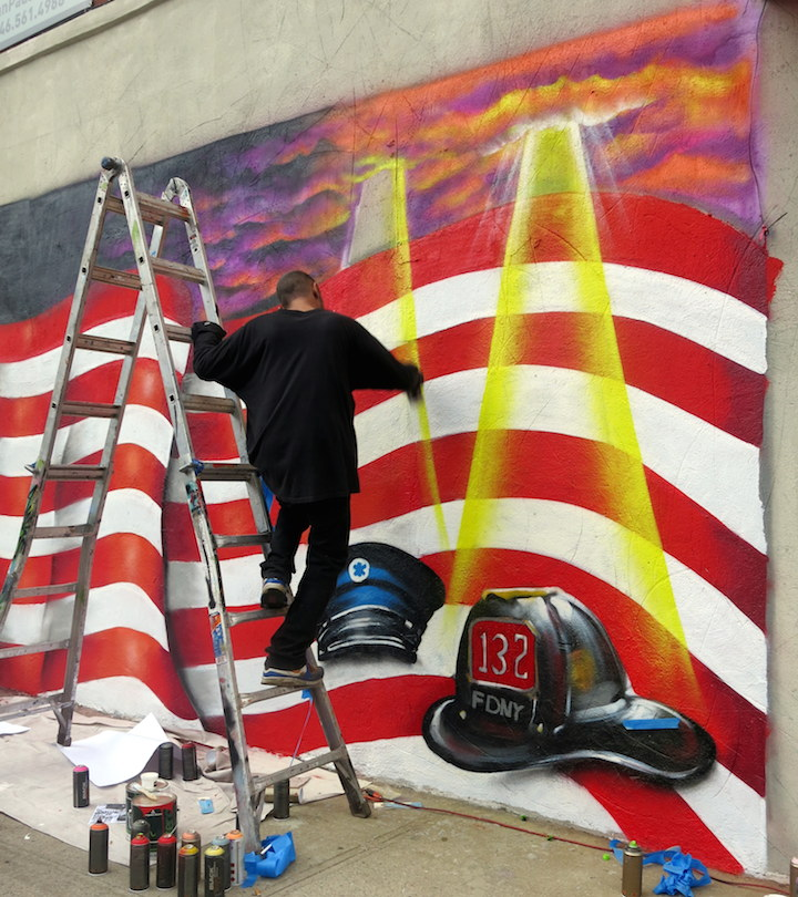 Meres paints street art mural NYC 5Pointz Artists Paint 9/11 Commemorative Mural in Crown Heights, BK