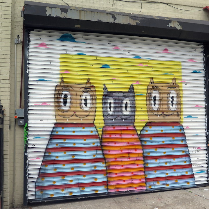 Ramiro Davar street art Williamsburg Ramiro Davaros Whimsical Characters on Brooklyn Streets and His Manimal Friends at Williamsburgs Cotton Candy Machine