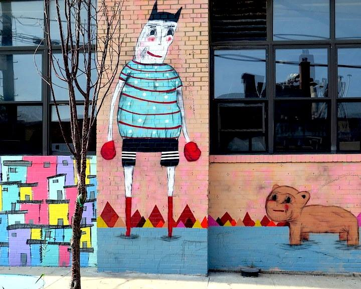 Ramiro Davaro street art Brooklyn Ramiro Davaros Whimsical Characters on Brooklyn Streets and His Manimal Friends at Williamsburgs Cotton Candy Machine