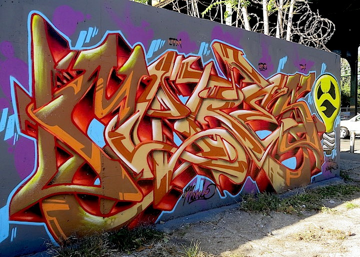 Meres graffiti NYC In East New York, Brooklyn: Nicole Palapoli, Bugn, Rez, Meres, Sek3, Topaz, Lites, Jerms and Adam Fu