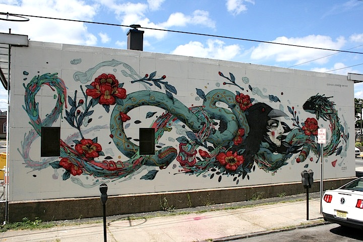 Smithe Seher Kraken street art savage habbit NJ  The Savage Habbit Mural Project in Hudson County, NJ with: Angelina Christina, Ease One & Never, Mike Makatron, Smithe, Seher & Kraken and Nanook & Mata Ruda