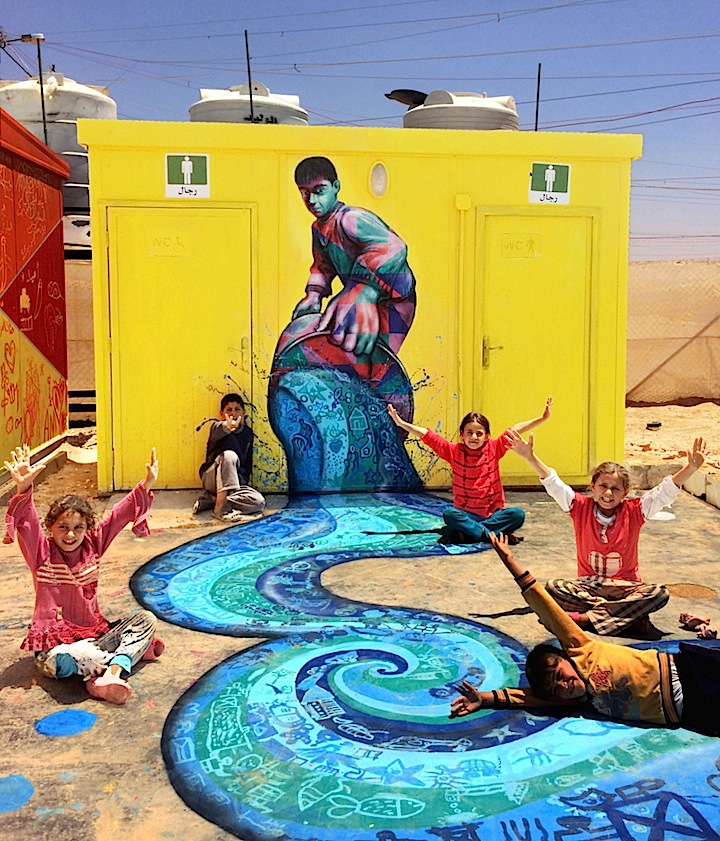 Joel Bergner and children river zaatari mural  Joel Bergner on Art and Life in the Za'atari Syrian Refugee Camp