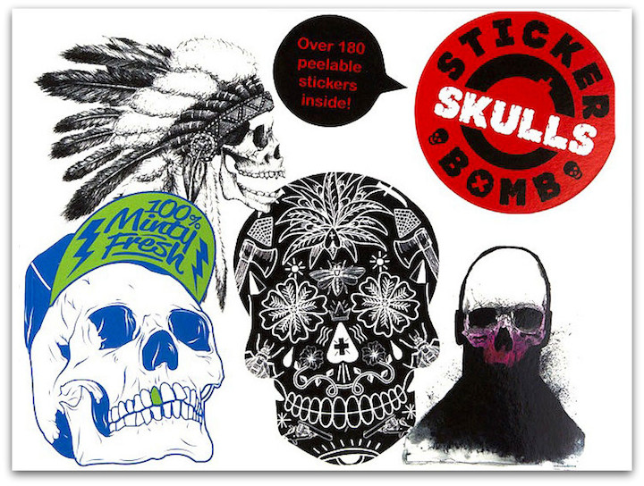 Stickerbomb Skulls Front  Stickerbomb Features over 180 Skull Stickers from across the Globe