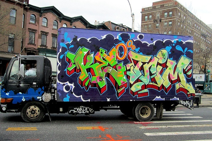 KEO FC and TRIM TNCgraffiti NYC truck 2 NYC's Stylish Trucks & Vans – from the Whimsical to the Wild, Part X: DALeast, Icy & Sot, NME, Cruz, Keo & Trim, Urbanimal, Pase & BG183