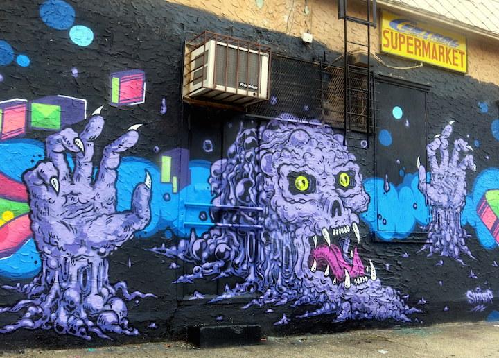 steiner monster street art Bushwick NYCs Eerie Streets:  Vexta, N Carlos J, Damien Mitchell, Nicole Salgar & Chuck Berrett, Steiner, Bishop203 and Epic Uno