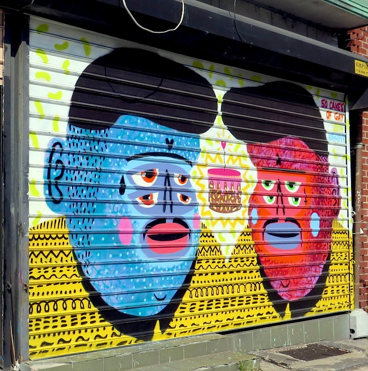 Kashink shutter street art nyc NYC Shutters – Part VIII: Sweet Toof, Darkclouds, Ben Eine, Ramiro Davaro, Kashink, the Drif and Buff Monster