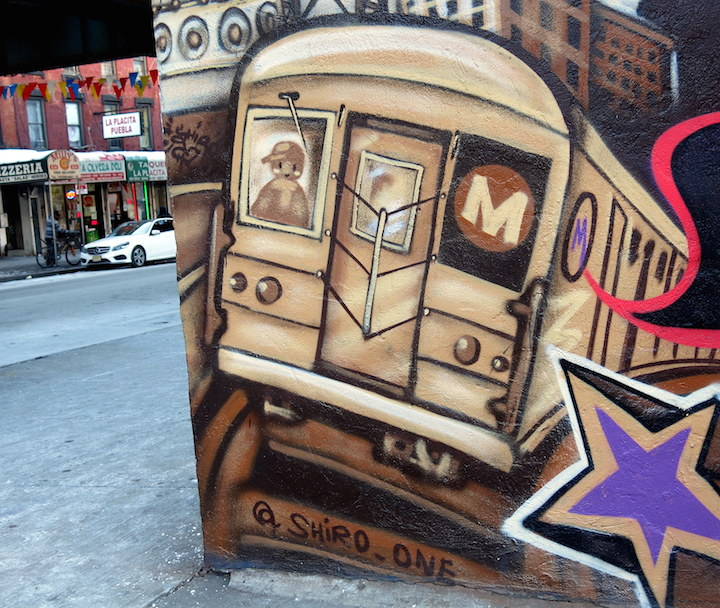 Shiro jmz street art nyc Subway Trains on NYC Walls with: Damien Mitchell, Downer Jones, Bella Amaral, Danielle Mastrion, Dek 2DX, Shiro and Cern