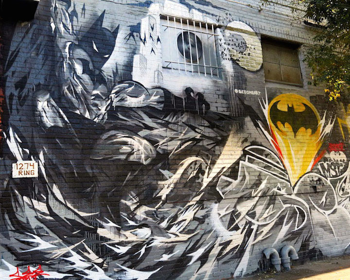 see one batman street art bushwick collective Comic Characters on NYC Walls: John Crash Matos, Ozmo, Jerkface, Mr OneTeas and See One