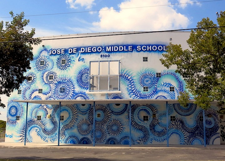 Hox Jose De Diego Middle School street art Miami Jose De Diego Middle School as Outdoor Museum: Rafael Sliks, Reka, Bikismo, MTO, Paola Delfin, Martin Whatson, Madsteez, Axel Void, Don Rimx, Diana Contreras, the Hox & more