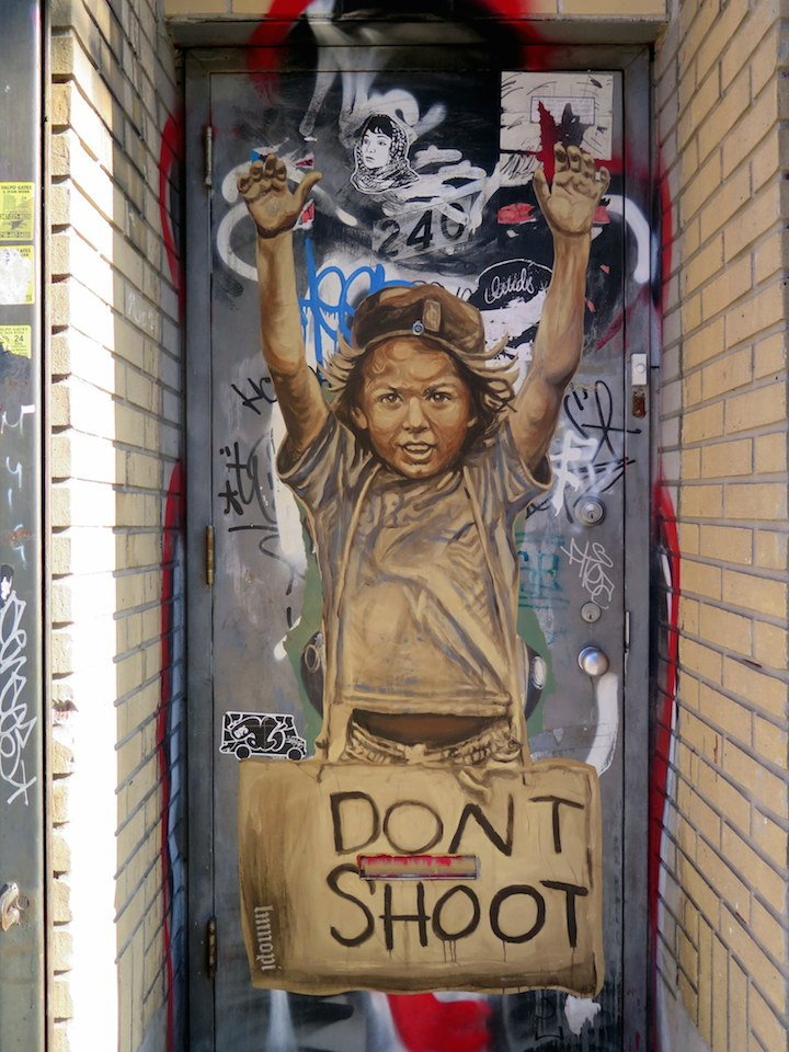 lmnop dont shoot street art Politically and Socially Conscious NYC Street Art: Bikismo, Gilf!, #Dysturb, LMNOPI, Luis Rosenfeld, Sophia Dawson & Hunt Rodriguez